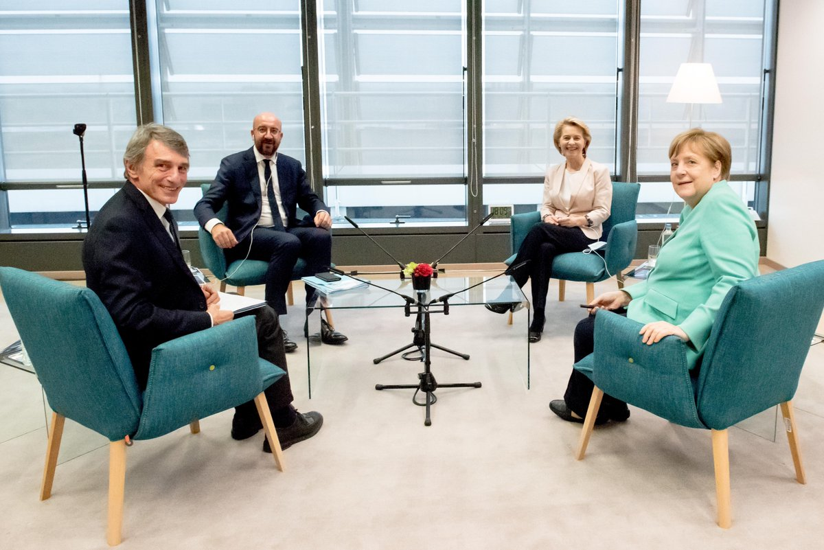 President @vonderleyen met with @EP_President, @eucopresident & Chancellor Merkel on 8 July. They agreed that reaching swiftly an agreement on an ambitious #EUbudget and #NextGenerationEU recovery package is the EUs highest priority for the coming weeks: europa.eu/!fK77nj