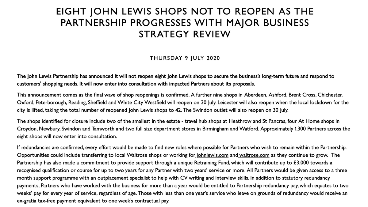 BREAKING Eight John Lewis stores in the UK are closing, putting 1300 jobs at risk. They are... Two full-size department stores in Birmingham and Watford. Four At Home shops in Croydon, Newbury, Swindon and Tamworth Two travel hubs at Heathrow and St Pancras.