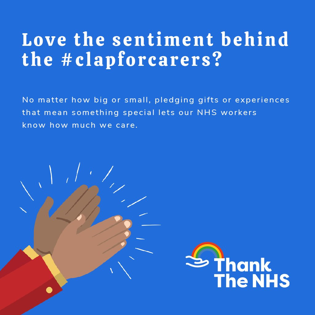 Love the sentiment behind the #clapforcarers? No matter how big or small, pledging gifts or experiences that mean something special lets our #NHSworkers know how much we care. To help us say the biggest #thankyou, get in touch with Thank The NHS. https://t.co/kUSWfHcUBw https://t.co/bj4DCDEUQv