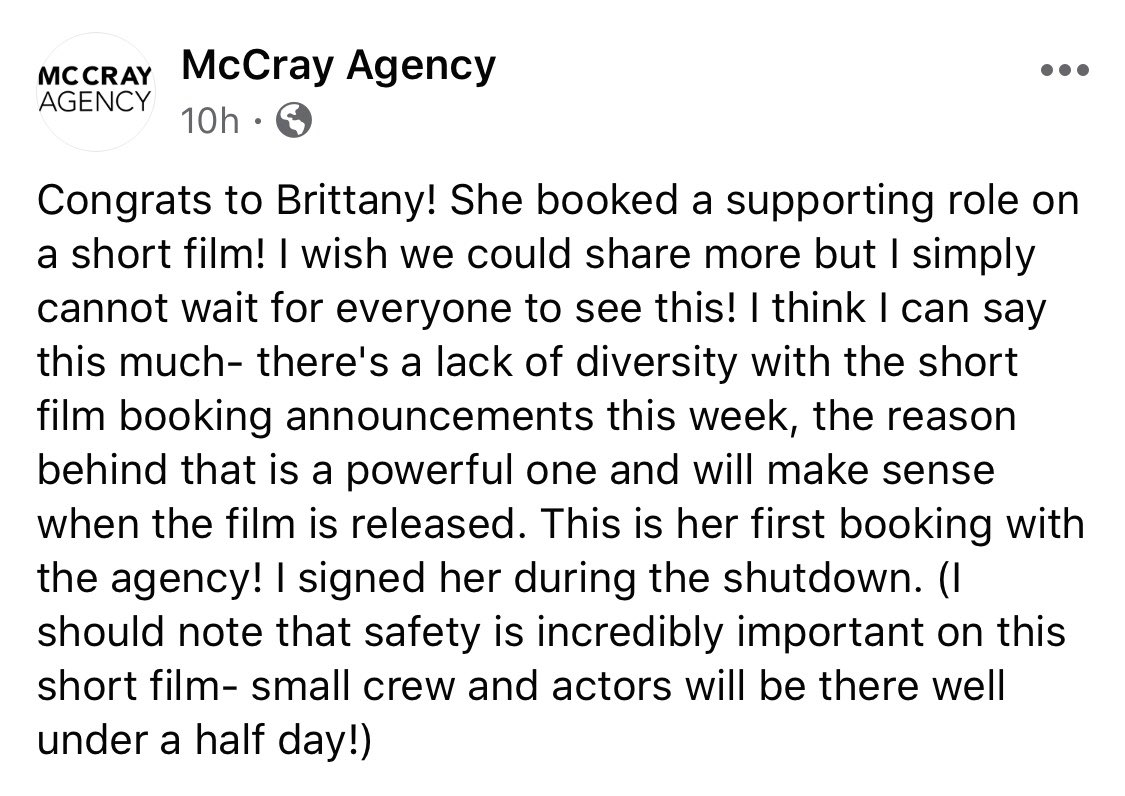 Sooo so so excited for this!! Filming today!  Covid has put a halt to most film/tv productions, but now they are very slowly starting back up again! #actor #mccrayagencypic.twitter.com/EO73VyWNPL