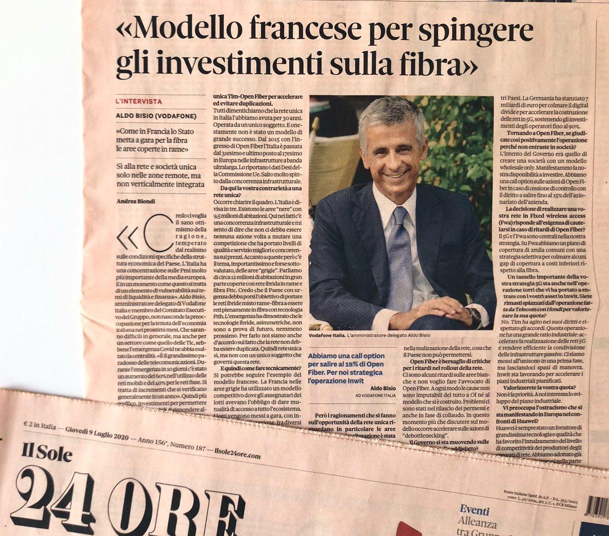 🗞 Aldo Bisio, AD @VodafoneIT, intervistato da @An_Bion su @sole24ore https://t.co/sub1BgXH13