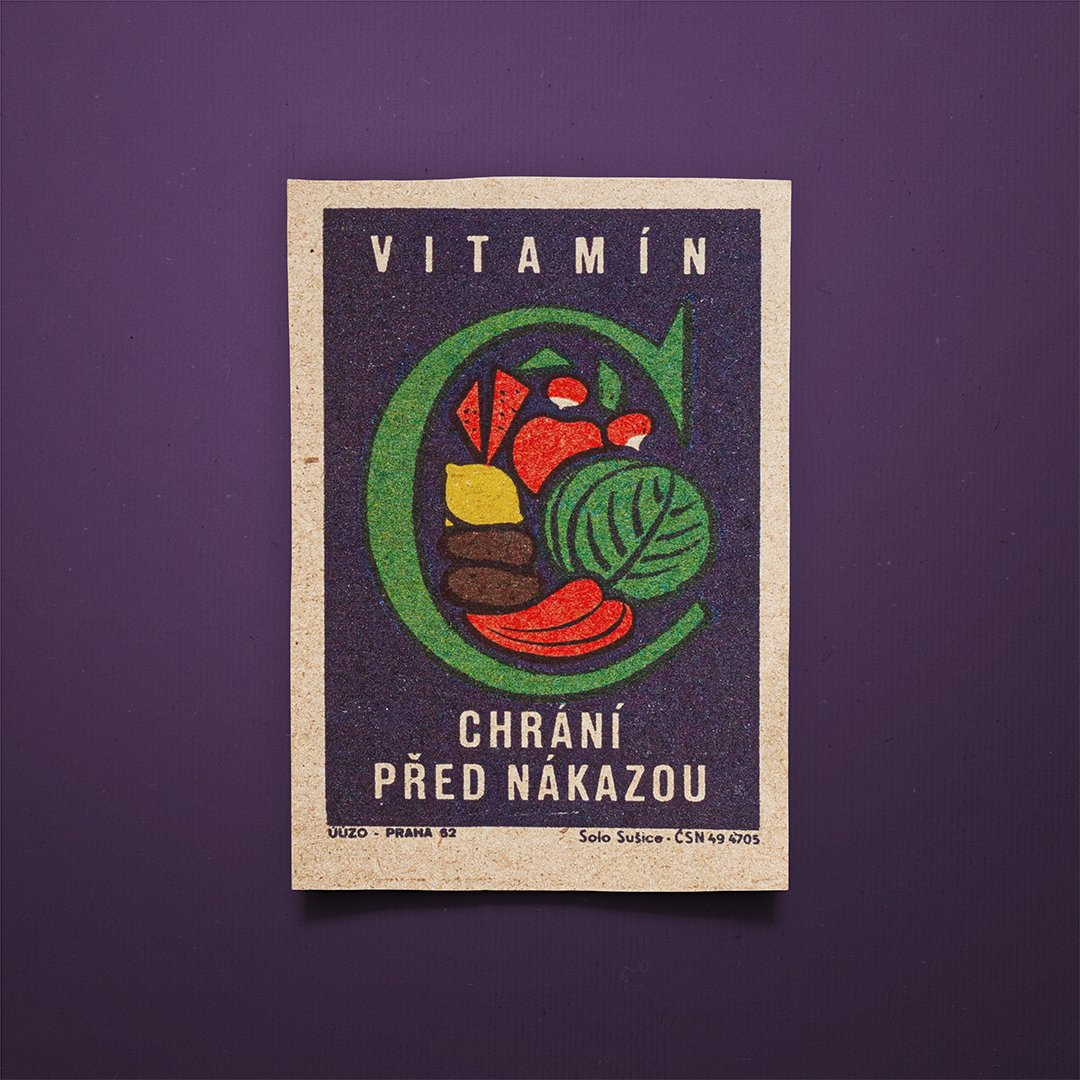 "🔥 Matchbox label: ""Vitamin C Prevents Infection"" Designed in Czechoslovakia 🇨🇿 - #design #creative  #illustration #art #graphic  #czechoslovakia #retro #vintagedesign  #ink #soviet #safetymatch #limitededition #screenprint #print https://t.co/hwxxH7nR8F"