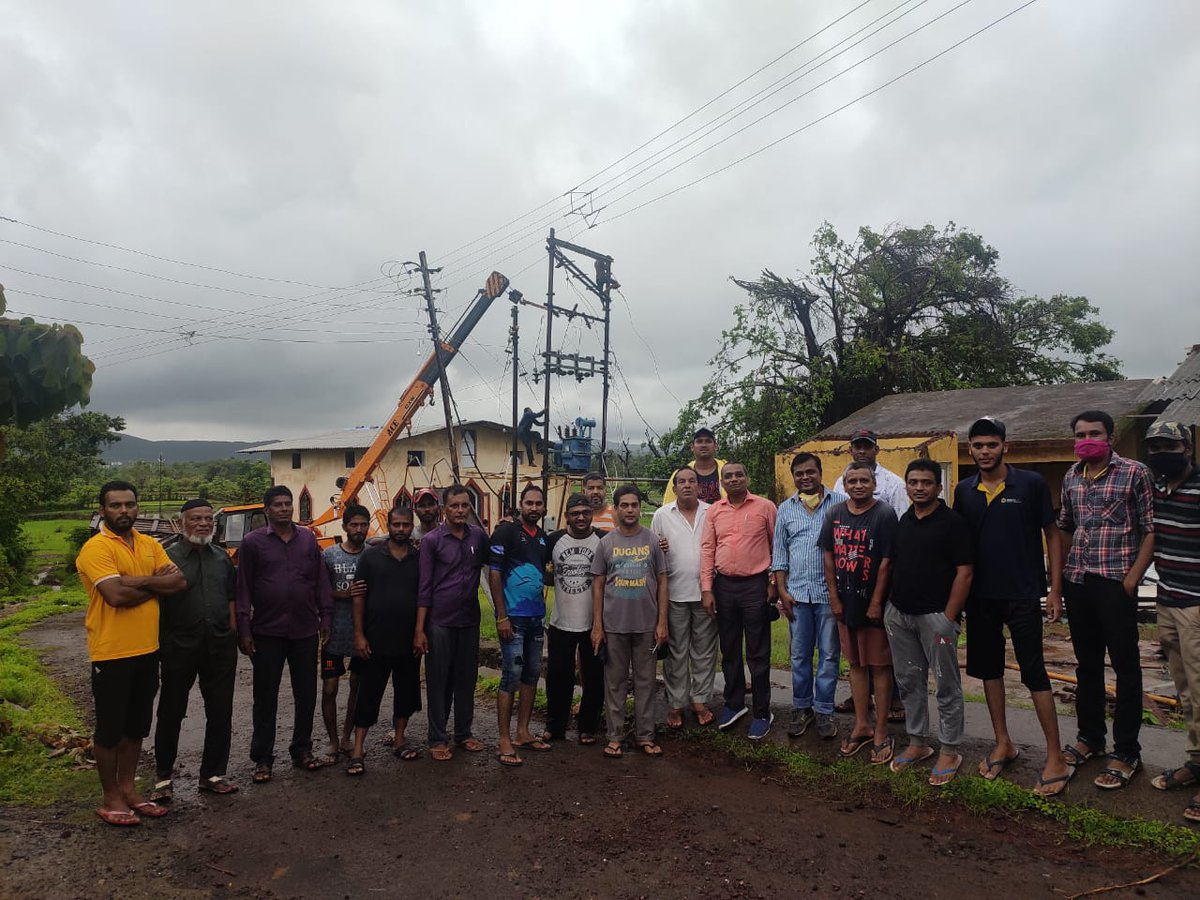 MSEDCL staff worked on war-footing to restore power supply in 1874 villages of Raigad distt which was affected by #CycloneNisarga. More than 170 HT poles, 16 LT poles and a 100 KVA DTC were erected on #Bagmandla feeder under Shreevardhan sub-division to restore the supply.pic.twitter.com/kXsHSckddq