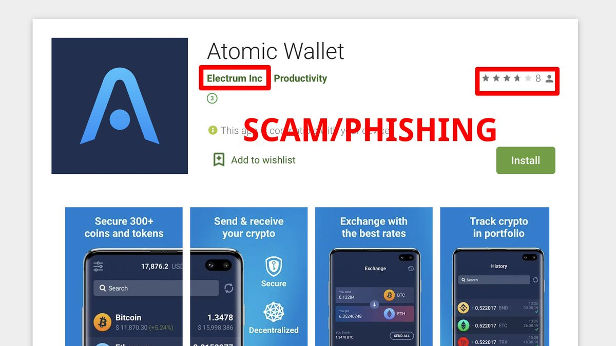 SCAM ALERT! There is another fake phishing app in Google play. Please don't install and click report! Wish @GooglePlay @GooglePlayDev to verify new apps better before publishing. Stay safe!    https:// play.google.com/store/apps/det ails?id=com.atomicwallet.atomicwalletmanager  … <br>http://pic.twitter.com/Lqw96YaNYD