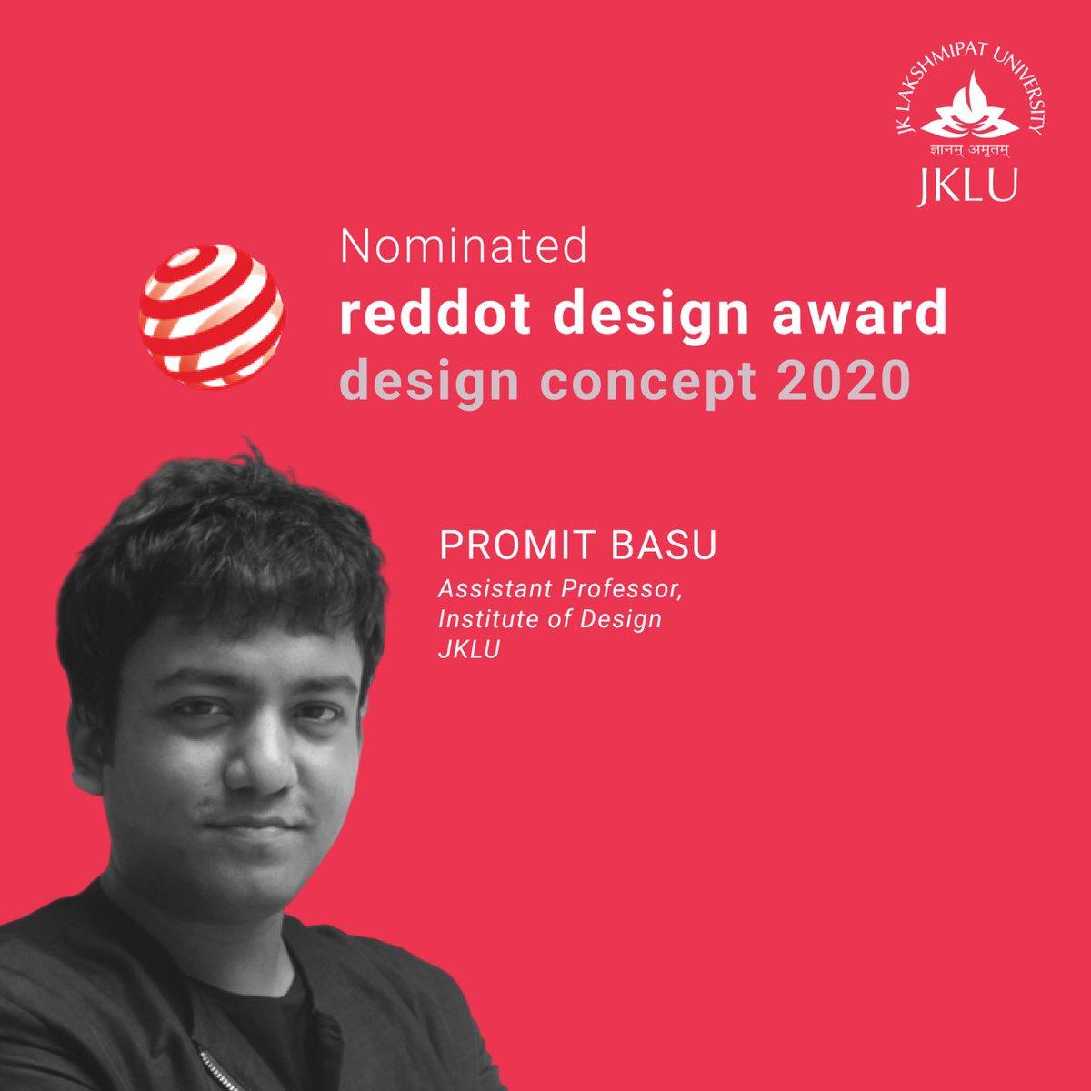 Congratulations to our faculty and design virtuoso Promit Basu for the prestigious REDDOT CONCEPT DESIGN AWARD 2020 nomination.  #reddotaward #productdesign #designconcept #indiandesigners #award #JKLUpic.twitter.com/kPGbHQMERs