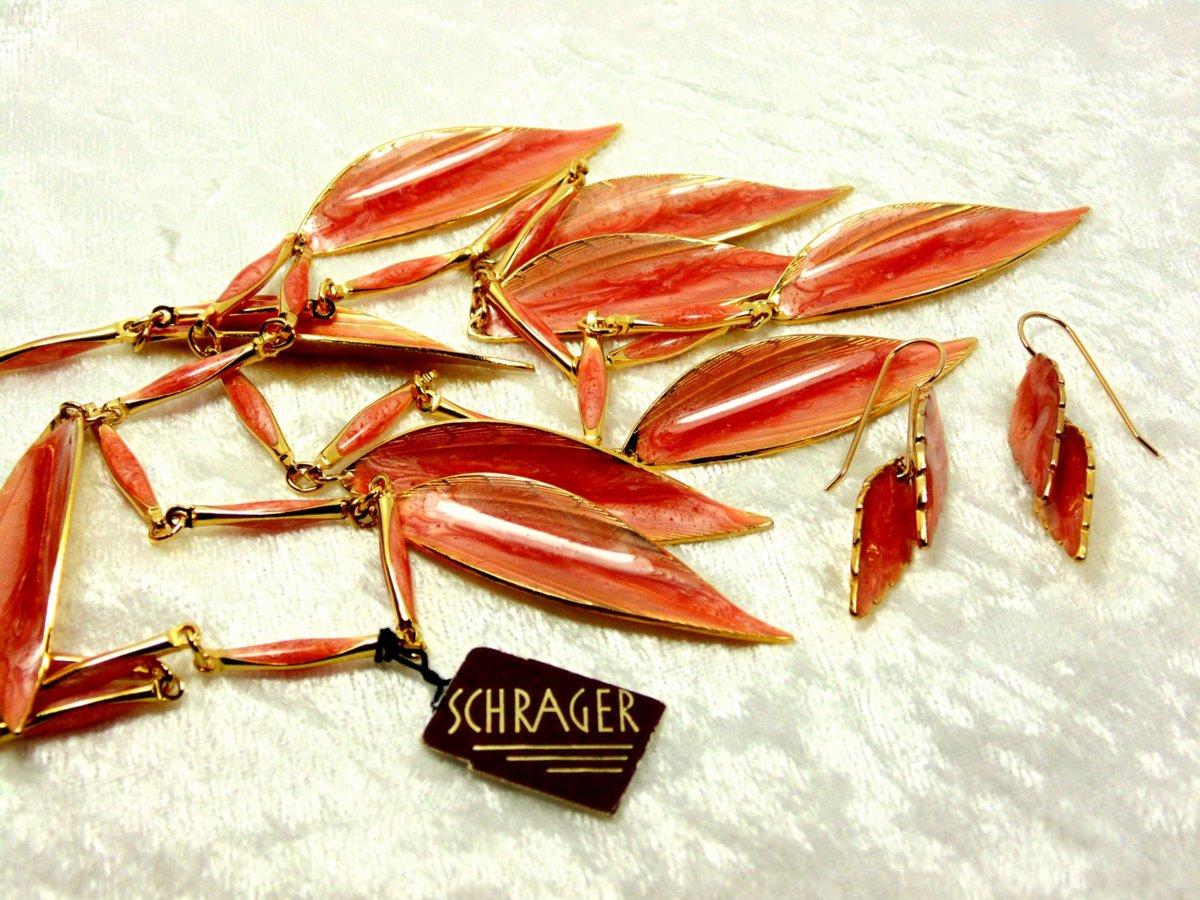 Vintage Coral Statement Schrager Set  #pottiteam #vintage #jewelry #LeafNecklace
