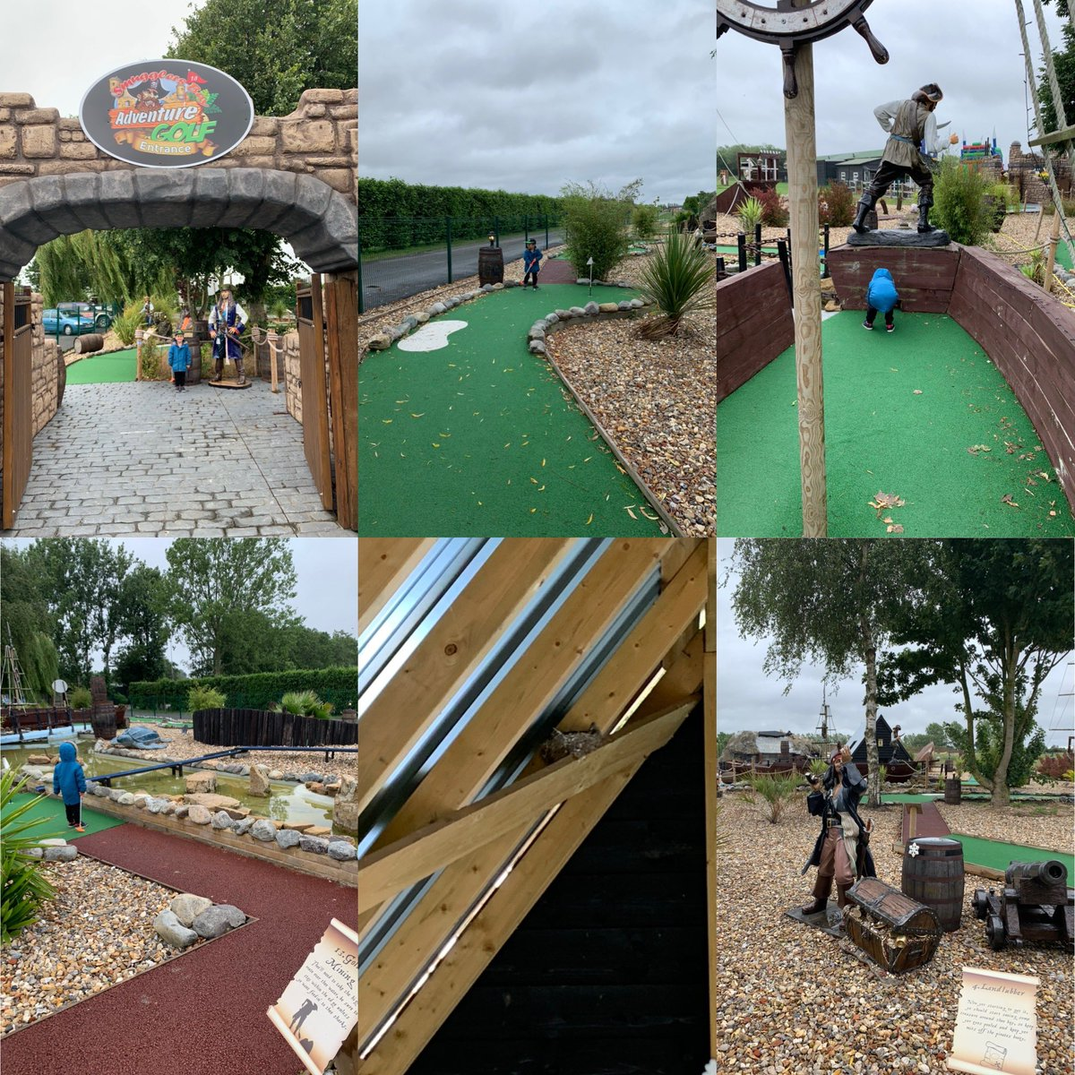 A serious game of adventure golf this morning!We lost our focus when we found a birds nest on hole 15 then Dad let his lead slip eventually losing by 3 shots! Definitely worth a visit for fun family time. #family #familytime #littleboy #junior #juniorgolf #children #funpic.twitter.com/Q5auvOFwyt – at Stonham Barns