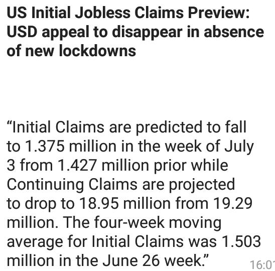 #US Initial Jobless Claims Preview:#USD appeal to disappear in absence of new lockdowns  If anyone want trade signal on the basis of fundamental and technical analysis  join us:https://t.co/3qWGs2kMyv  @KuwaitForex @malaysiaforex @fxlondontrader @LondonForexOpen @londonforexpo https://t.co/aJzEqhy40P