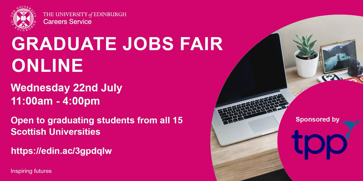 In less than two weeks @uofedcareers will host the Graduate Jobs Fair Online! Open to @dundeeuni graduates and graduating students!   For more info on what to expect on the day, please visit https://t.co/l2Bx6uReuO  #ExploreDevelopConnect #graduate #gradjobs https://t.co/fOE7nUTzsA