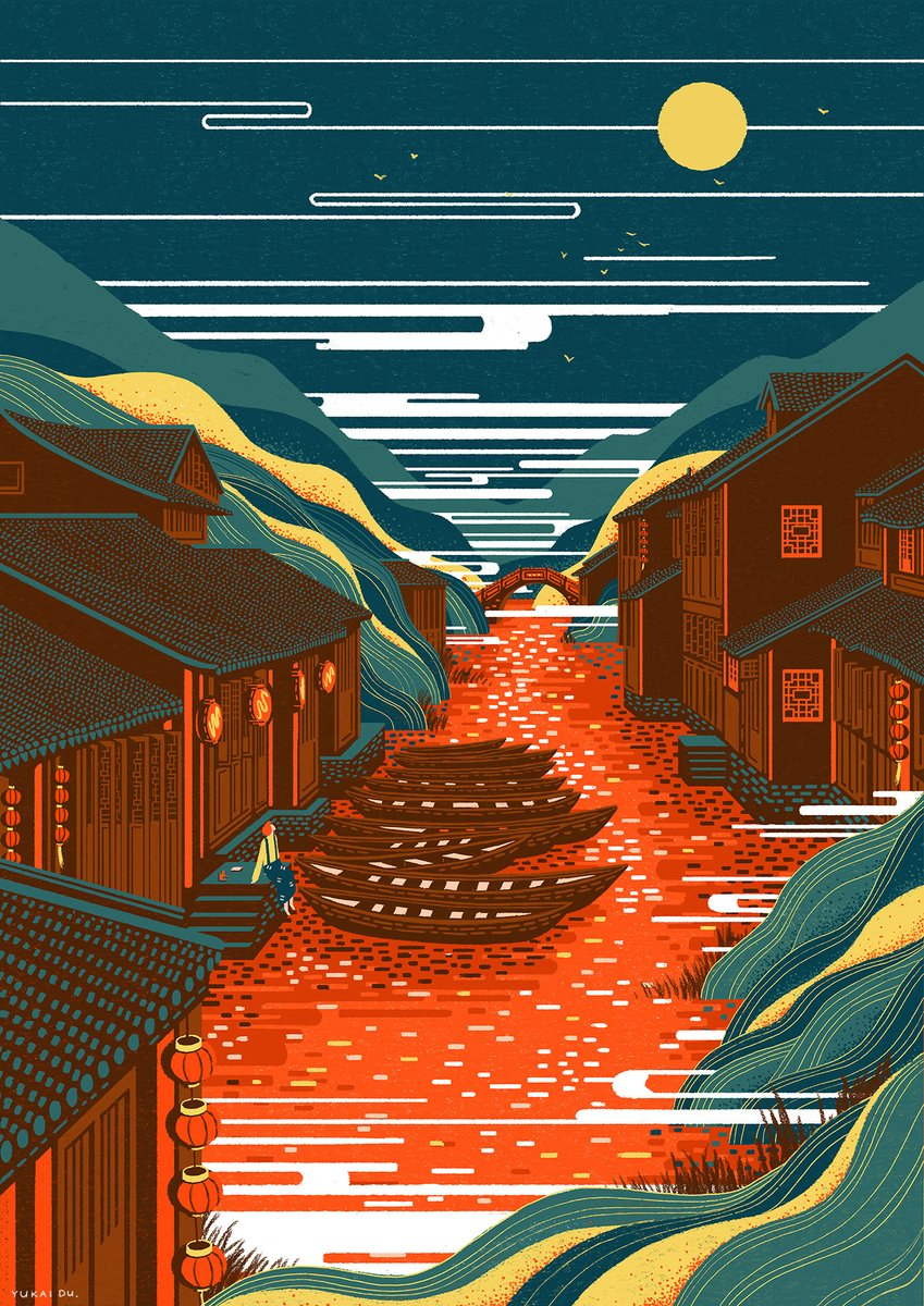 Travel through ancient China in this illustrated series by @YukaiDu, which combines traditional themes and modern techniques: https://t.co/l5V7B4lU2P https://t.co/fWazA2V71V