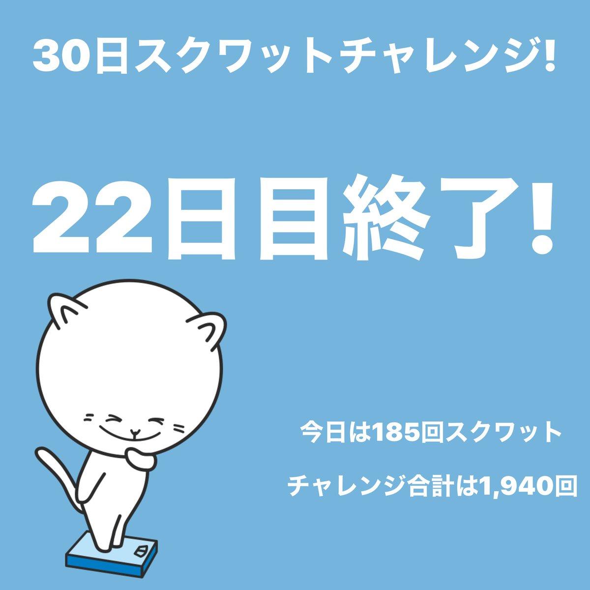 #スクワットチャレンジ 22日目終了!今日は185回スクワットしました。 #30日チャレンジ