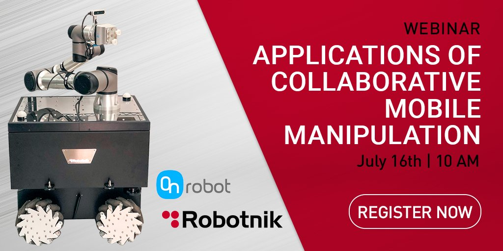 Join our webinar with our @OnRobot_ partner to learn more about how to implement collaborative tools in autonomous mobile manipulators to make your production more flexible, secure and productive.#mobilerobots #robotics #mobilemanipulators #industry4.0  https://t.co/yEPYOclWdB https://t.co/O5FDjYWJgA