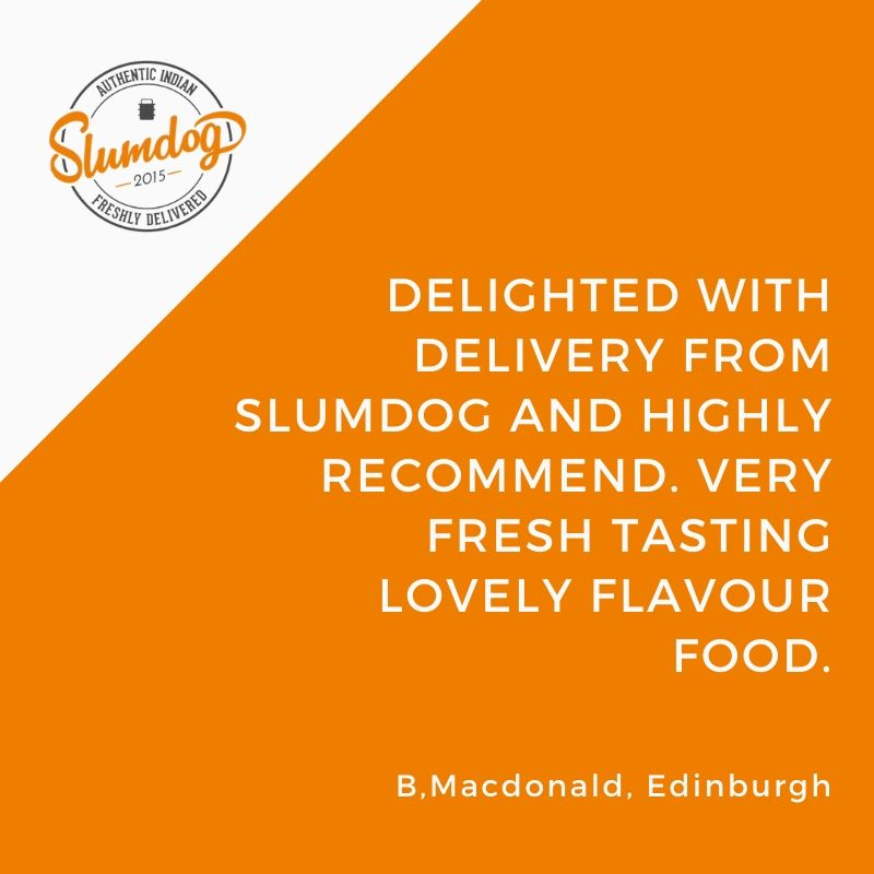 """""""Delighted with delivery from Slumdog and highly recommend. Very fresh tasting lovely flavour food."""" B. Macdonald #takeawayreview Order online:  Call: 0131 297 3297 #currylovers #Edinburghtakeaway #takeawayfood #indiantakeaway  #foodlovers #indianfood"""