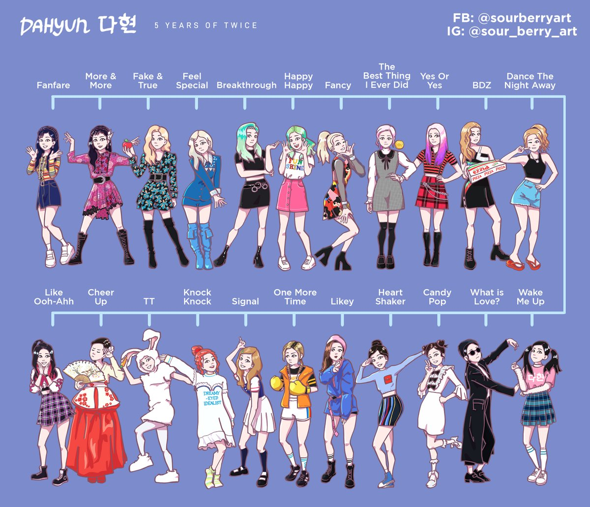 Artist @sour_berry_art has made illustrations of @JYPETWICEs Dahyun and Chaeyoung for each era and we are loving every single artwork 😍💗 We wanna see more, more, more 🥺👉👈 #TWICE #MOREandMORE