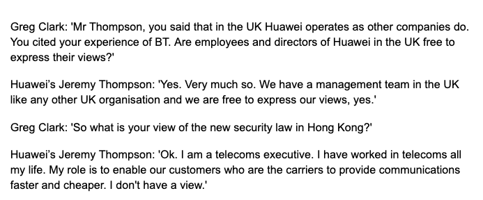 You will rarely see a select committee chairman spring a trap during questioning quite so smoothly as Greg Clark did with Huawei bosses this morning
