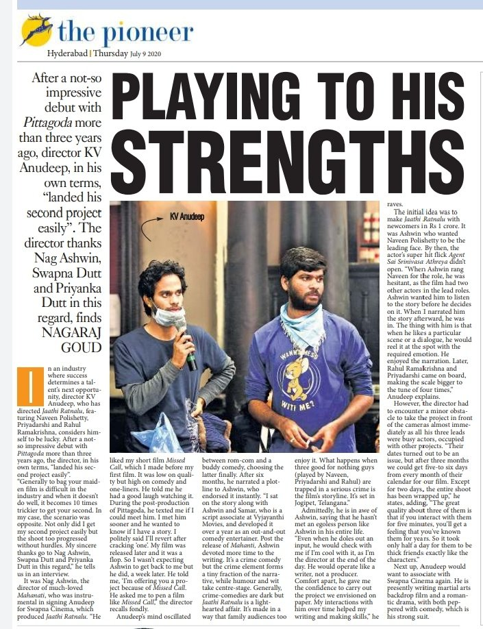 Playing to his strengths! In an industry where success determines a talent's next opportunity, director @AnudeepKVDirect, considers himself to be lucky. Read his #ExclusiveInterview by @rajuvijai http://pynr.in/2020/07/09/playing-to-his-strengths/… #TeluguFilmnagar #telugucinema #TeluguNews #TeluguFilms pic.twitter.com/IQx8pmnAaR