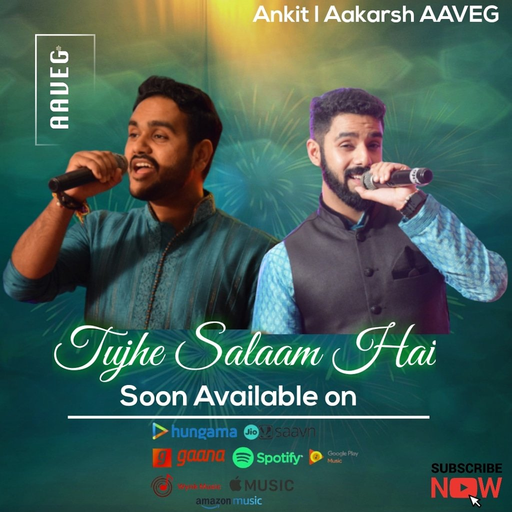 "Our original composition ""Tujhe Salaam Hai"" will soon be out on all music platforms #tujhesalaamhai #indie #indiemusic #aaveggroup #originalcontent #gaana #Spotify #hungama #Covid_19 #coronavirus #CoronaWarrior #jiosaawan #iTunes #AmazonMusic #YouTubepic.twitter.com/0dkpDWniR6"