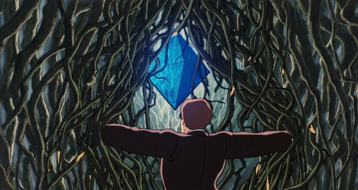"""Alistair Milne on Twitter: """"By sheer chance, TIL where Ethereum's logo  probably came from... This is a scene from 'The Castle in the Sky'. The man  says """"I found it! The largest"""