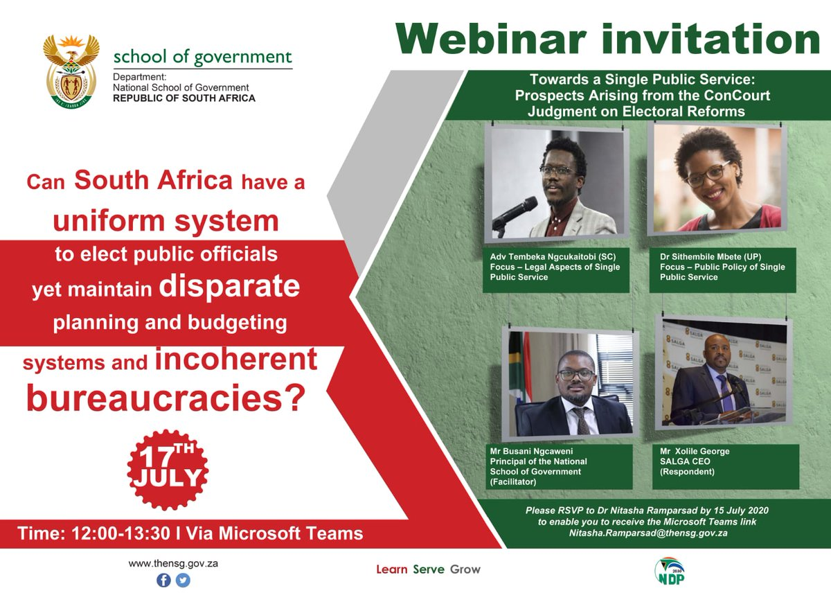 "Reminder | Webinar Invitation  ""Towards a single Public Service: Prospects arising from the ConCourt Judgment on Electoral Reforms""   Date: 17 July Time: 12:00-13:30 Via Microsoft Teams  RSVP by 15 July: Nitasha.Ramparsad@thensg.gov.za to receive the Microsoft Teams link https://t.co/fqXRo4hzlv"