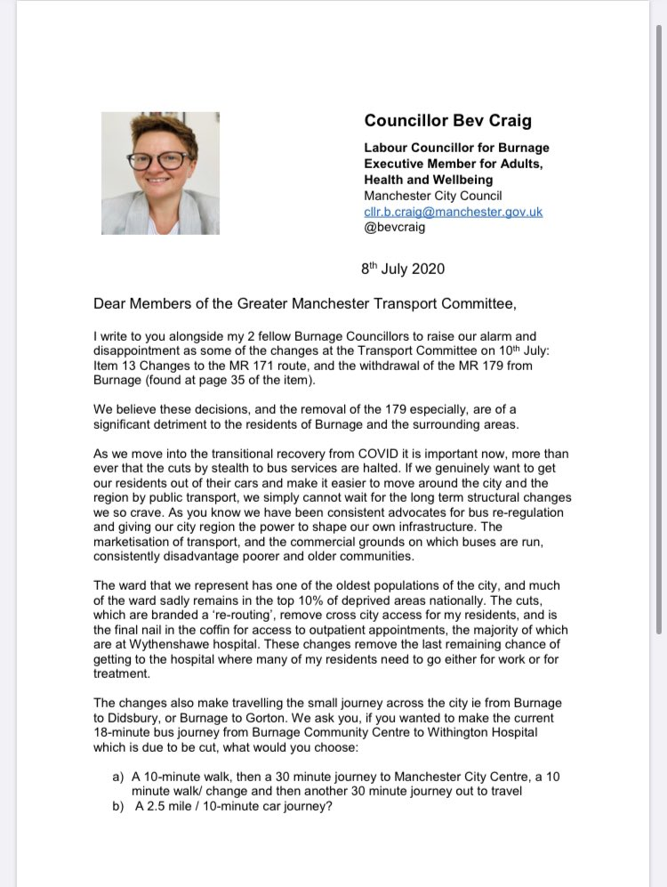 The 3 Burnage Councillors have written to @OfficialTfGM and the Mayor @MayorofGM @AndyBurnhamGM about proposed cuts to Burnage Bus services at the Transport Committee tomorrow - please share 🚌 🛑