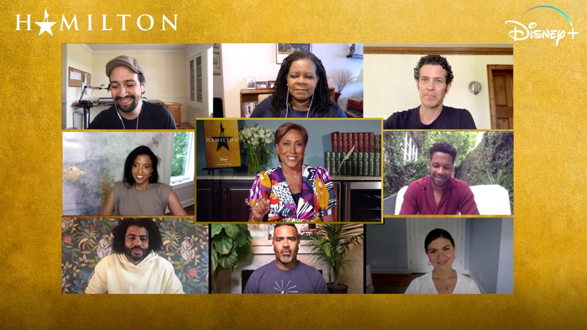 """Tomorrow, join Robin Roberts and the cast and filmmakers of the Broadway hit for """"Hamilton: History Has Its Eyes On You,"""" streaming exclusively on #DisneyPlus."""