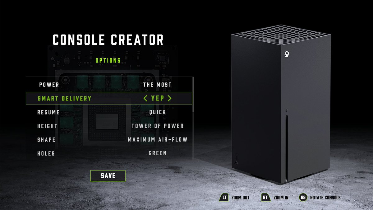 "Character creation screen edited to be a ""Console Creator"" Screen where you can pick different attributes for the Xbox Series X. https://t.co/5jz2UcCdxz"