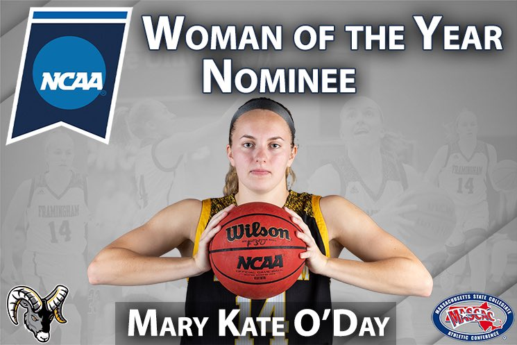 Rams senior Mary Kate O'Day honored as @mascacsports nominee for @ncaa Woman of the Year #d3hoops https://t.co/VzICsvan8D