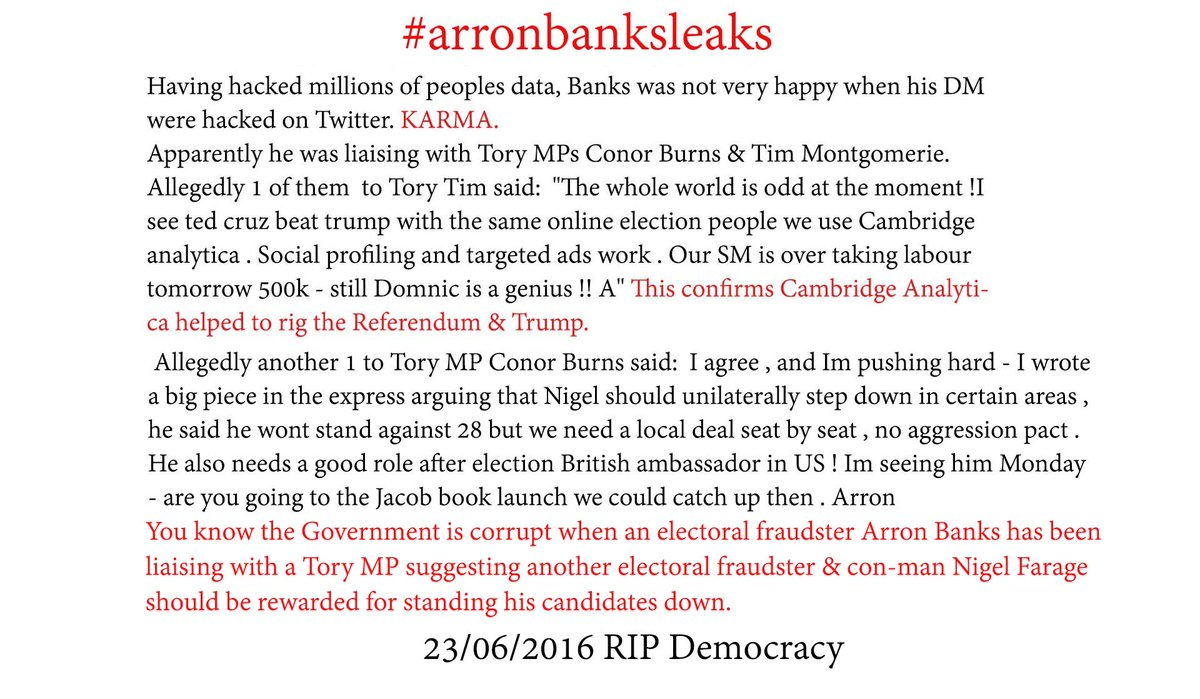 @LozzaFox @StevenEdginton Did he tell you about getting Darroch sacked? The Brexit Party behaving like the traitors they are. Particularly when you hear: @Arron_banks wanted @Nigel_Farage to be the Ambassador. #arronbanksleaks