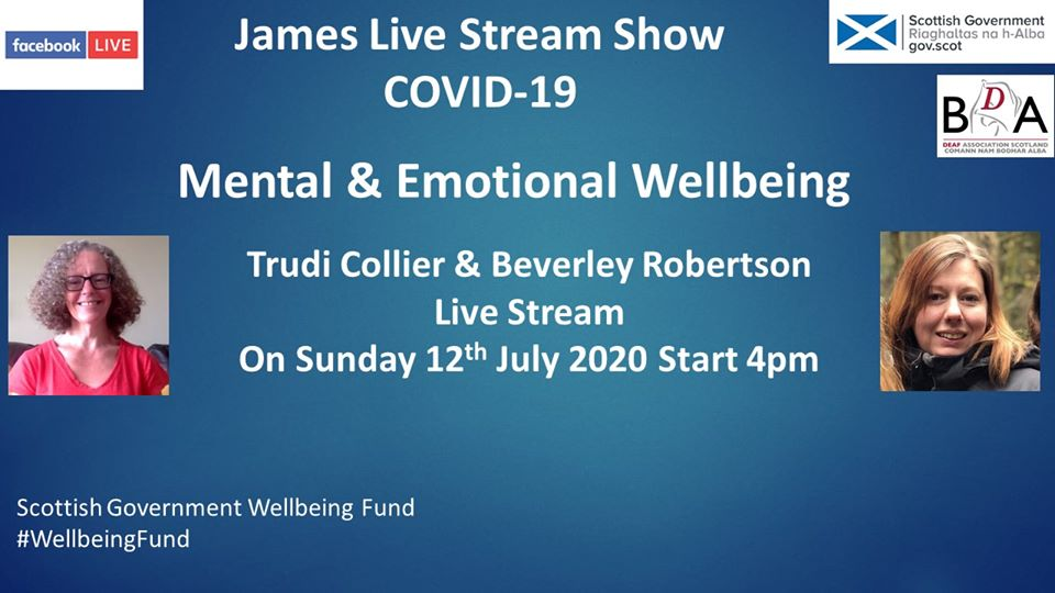 On Sunday at 4pm, @bda_deaf will be hosting a live stream show focused on Mental and Emotional Wellbeing. Further details below: