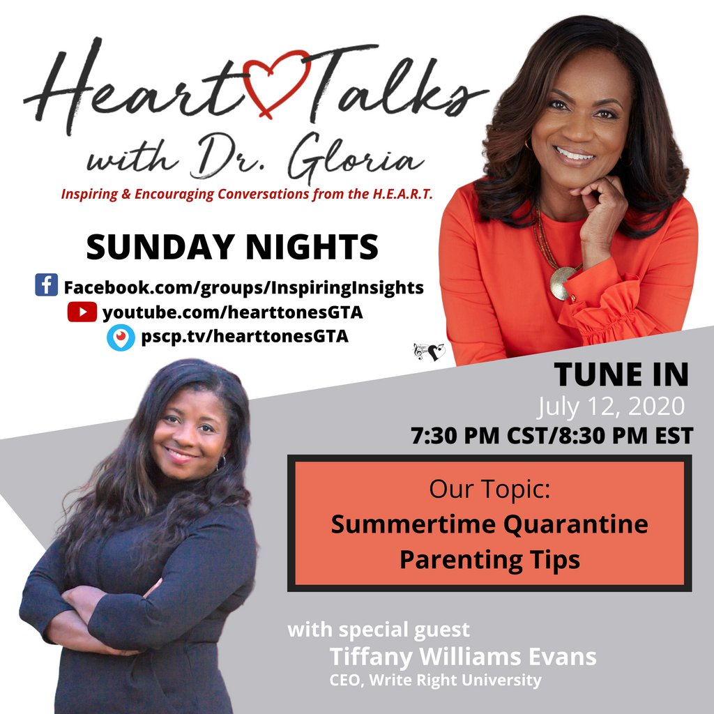 Dr. Gloria Thomas Anderson and Tiffany Evans will have a discussion this Sunday, July 12th, at 7:30 pm CT/8:30 pm ET.  https://t.co/GNg7jGfqw2  #HeartTalksWithDrGloria #hearttonesGTA #sundaynights #ministry #faith #unity #hope #letstalkaboutit #quarantine #summer #parenting https://t.co/qD0WK3EMG9