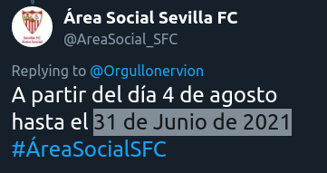 """@AreaSocial_SFC @Orgullonervion #ÁreaSocialSFC @SevillaFC  #SevillaFC   ¿...Esa es la """"versión extendida"""" del mes de #Junio ?  Quien esté interesad@, que no espera al """"último"""" día. Supongo  #FechasImposibles https://t.co/gjQpr8XoSZ"""