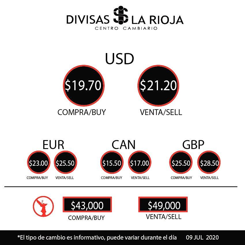 Tipo de cambio de hoy  09 Julio 2020 . . #junio #divisas #tipodecambio #cambio #dolares #dolar #euro #divisas #dinero #monedas #divisaslarioja https://t.co/GFLOpVq8FS