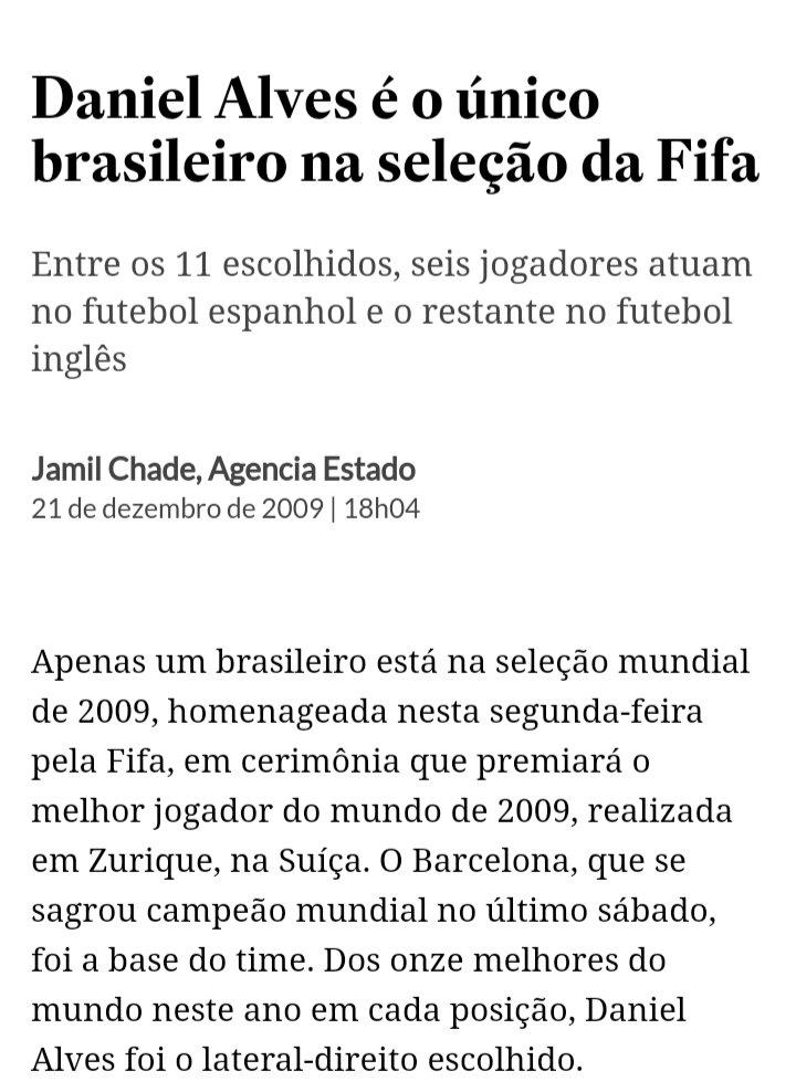 @DaniAlvesD2 Já foi eleito Pela FIFA 8 Vezes o Melhor Lateral Direito do mundo.   🥇 2009 🥇 2011 🥇 2012 🥇 2013 🥇 2015 🥇 2016 🥇 2017 🥇 2018 https://t.co/qq9pVAGL75