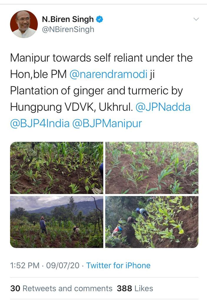 689. CM Biren Singh encouraging plantation of ginger and turmeric as one of many step towards the self reliance of Manipur is that praise worthy. One has to note that our region has potential too but no one has ever encouraged or helped such endeavours. #Atmanirbhar #Darjeeling https://t.co/3NLxE5NNdO https://t.co/RDP43EdtUG