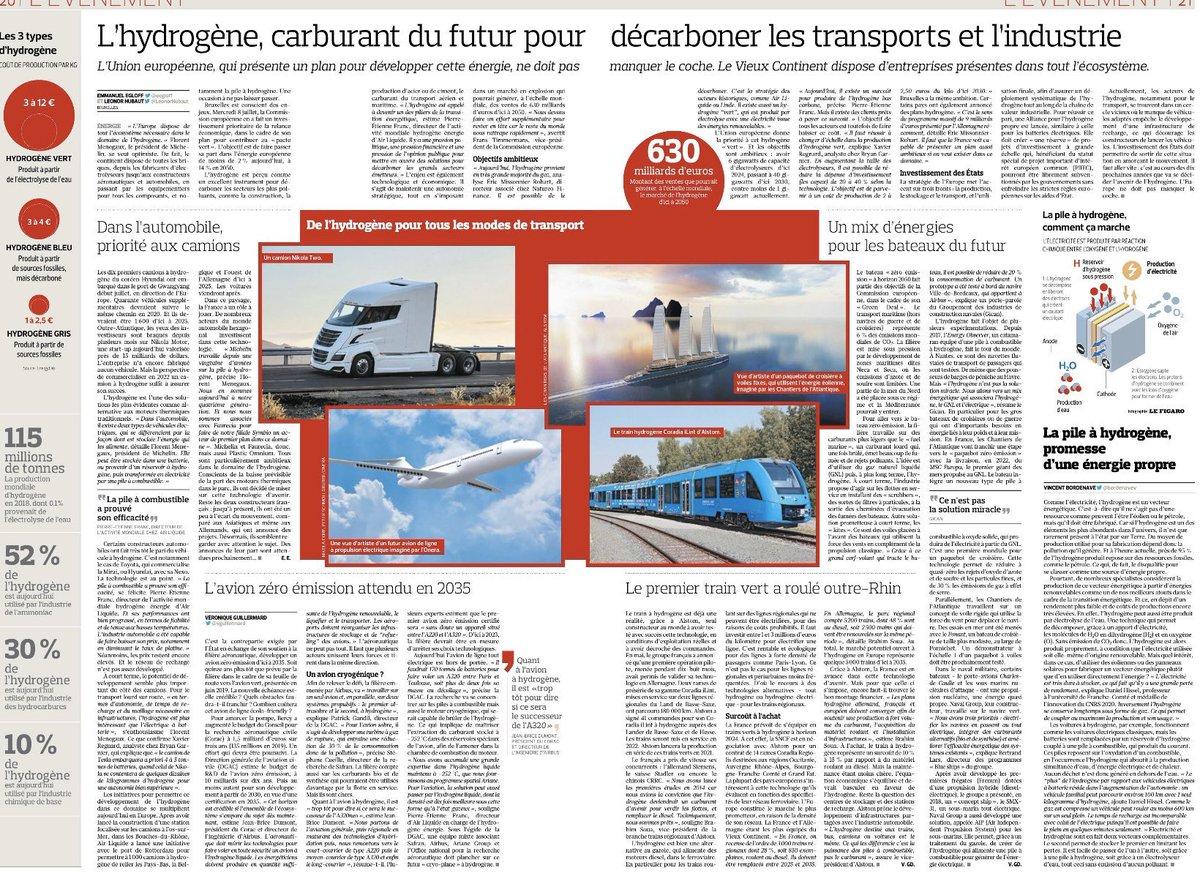 Double page dans Le Figaro, plan de la commission européenne... la solution de l'#hydrogène intéresse enfin les décideurs. Mais nous aurions gagné du temps à écouter @MLP_officiel qui la défend depuis... 2012 !