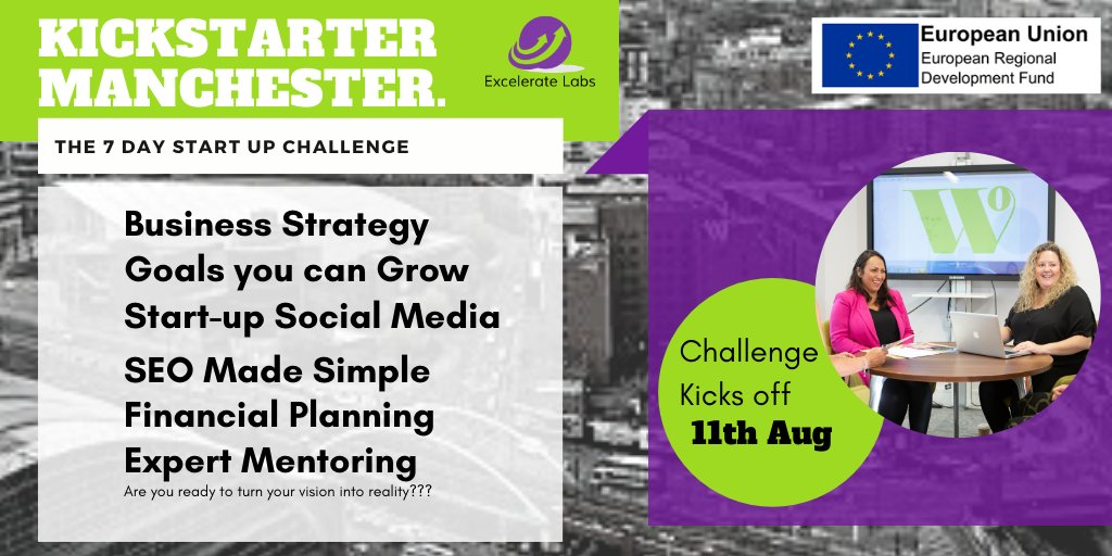 Our 'Kickstarter Manchester' 7 Day Challenge is BACK!  ➡️Have you got an idea for a business? ➡️Do you live in Greater Manchester? ➡️Want to benefit from expert training and advice?  Get yourself booked on our next FULLY FUNDED cohort starting 11th Aug https://t.co/pOBLcXomaS https://t.co/bE9nrwPnmw