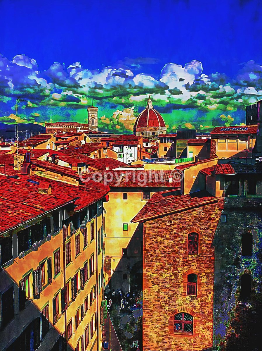 Florence Rooftop View No1 #Florence #Firenze #Italy #rooftop #view - Print Run of 100 http://tuppu.net/2acf0451  #Etsy #JohnCookeArtist #Firenze pic.twitter.com/B6L8V1eKmG