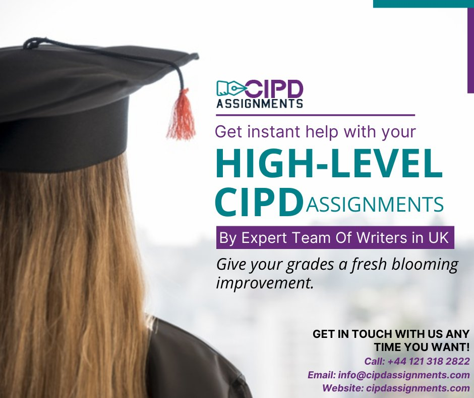 Unable to complete the pending CIPD assignments due to a lack of writing skills and less time? Get the finest CIPD assignment writing help from experts to achieve higher grades easily. Our services are of top-notch quality with guaranteed excellent results. #CIPD #assignments #uk https://t.co/YT9omyuhiR