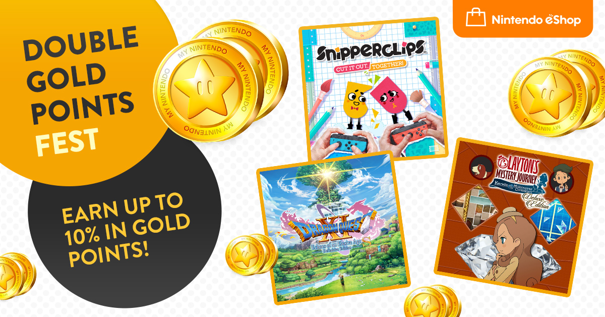 Earn up to 10% back in Gold Points when purchasing select #Nintendo Switch games from #eShop in our Double Gold Points Fest, running until 12/08! Find out more: bit.ly/2ZbkZWo
