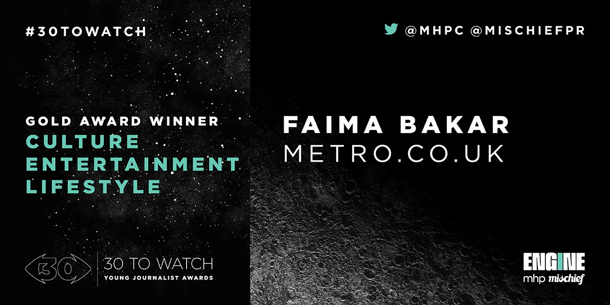 This year's #30ToWatch Gold Winner in the Culture, Entertainment & Lifestyle category is @FaimaBakar. Congratulations Faima! See the full list of all 30 winners at: mhpc.com/30-to-watch