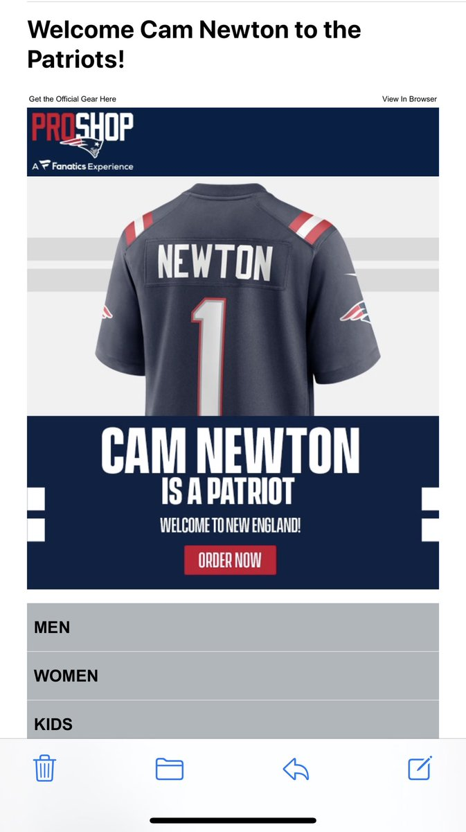 The email I've been waiting for... @Patriots + @CameronNewton = 🙌🏾 https://t.co/gcbB83w6hE