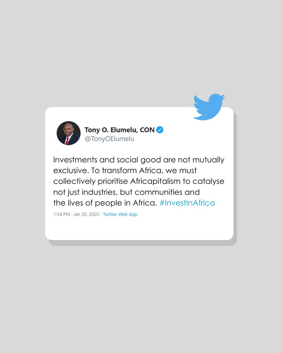 """TEF Founder, @TonyOElumelu - """"To transform Africa, we must collectively prioritise Africapitalism to catalyse not just industries, but communities and the lives of people in Africa."""" #TEFat10 #TEF2020 #Africapitalism #ThrowbackThursday https://t.co/A9onezlNpH"""