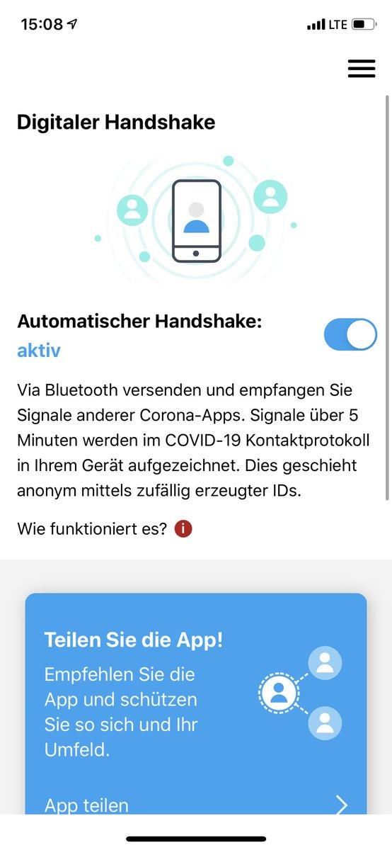Sieht bei euch die #stopcorona App auch so aus? Woran merkt man ob sie funktioniert? https://t.co/mnwieAQ6vG