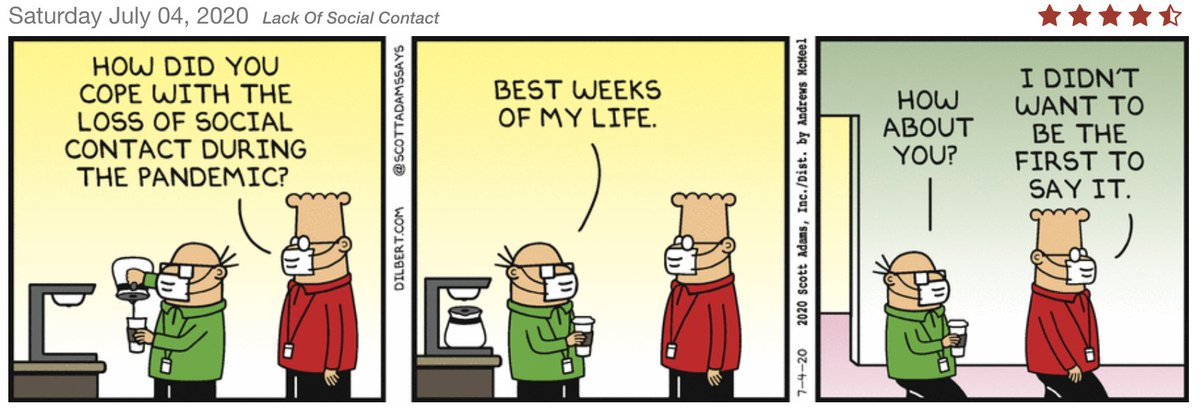 Dilbert says it out loud.  Many in the software development field are really enjoying this social distancing! #dilbert #FunniestTweets #softwaredevelopment #fun #thursdayvibes #introvert #agile