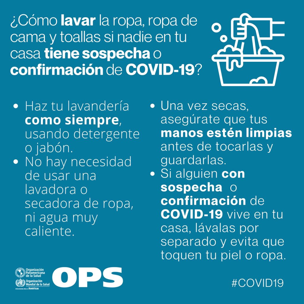 #Recomendaciones de la OPS para el lavado de ropa.