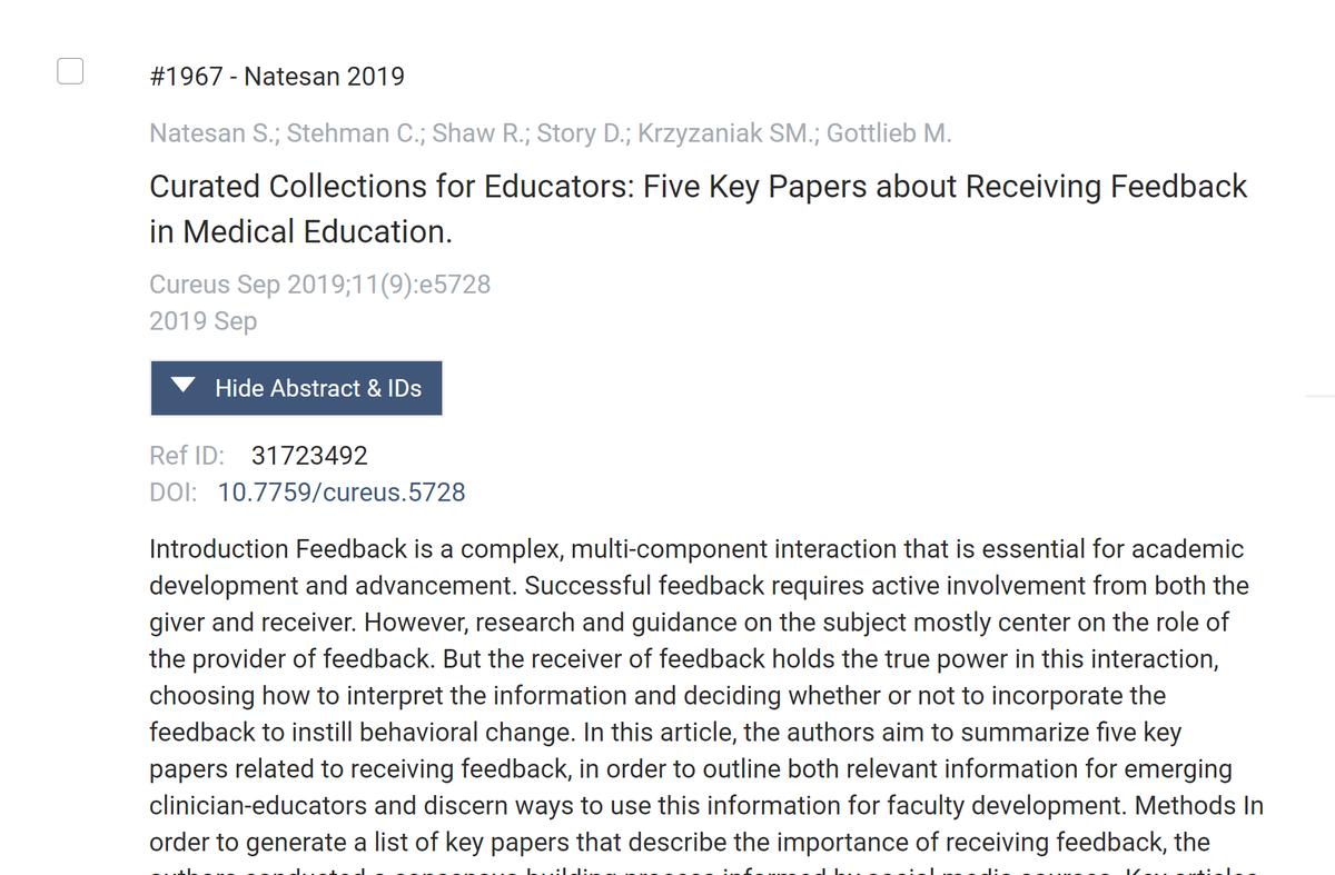 Can't beat that moment when you are screening articles & see your own name after a title. #MedEd is a journey w finding ways to contribute to the conversation challenging.    So thankful for all I've learned from our #MedTwitter community. I'm no longer afraid of scholarship!<br>http://pic.twitter.com/nfpXugzweg