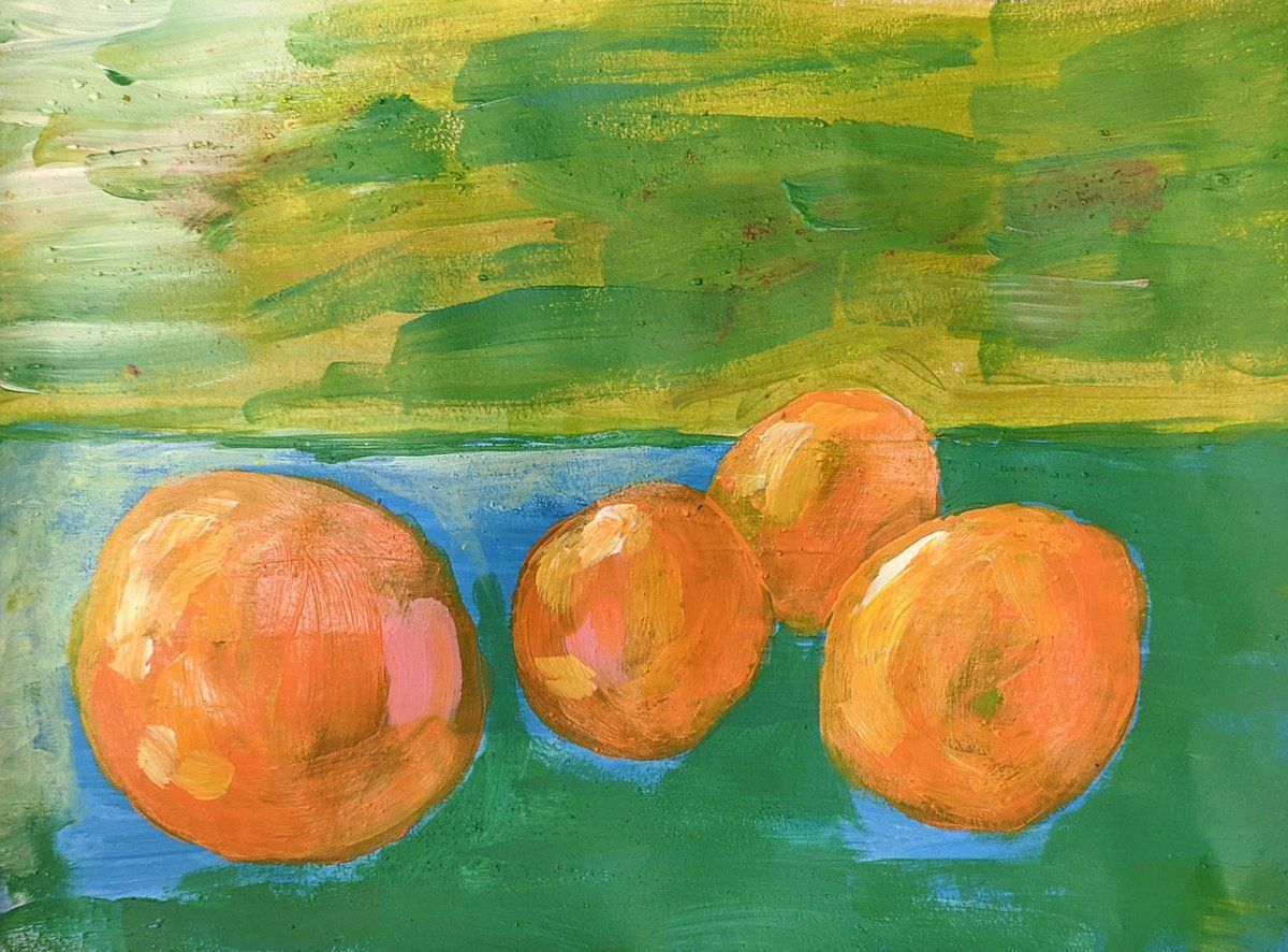 "Four Oranges 12""x9"" mixed media on paper #art #painting #mixedmedia #abstract #abstractart #abstractartist #stilllife #abstractstilllife #stressart #shellifinch @af_abstract"