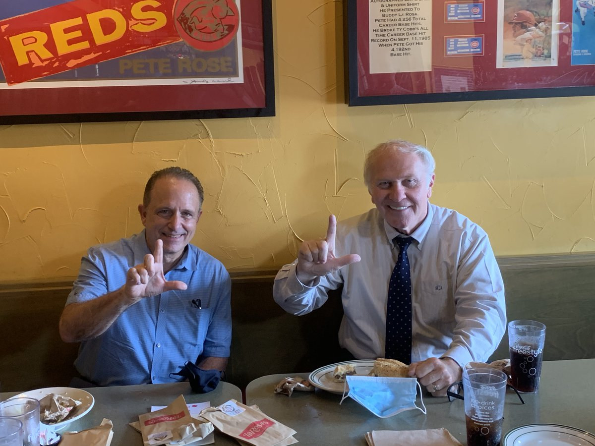 """With Mike LaRosa at one of Cincinnati's many great small businesses yesterday, LaRosa's Pizzeria, on Boudinot in Western Hills (the original.) The """"L"""" we're displaying is for our alma mater, La Salle High School, although I guess it could stand for LaRosa's too."""