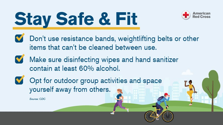 Many people are trying to stay in shape/fit/active. We get it! It is so important! BUT, try and follow these tips to make sure you stay healthy and safe! #COVID19