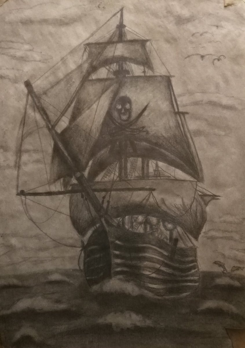 Pirate ship old drawing and painting   #draw #drawing #paint #painting #art #ArtistOnTwitter